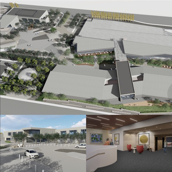 Design renders from around the amenities center at the Wonderful Industrial Park